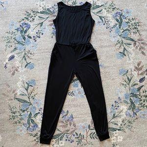 M black basic jersey drawstring jumpsuit romper